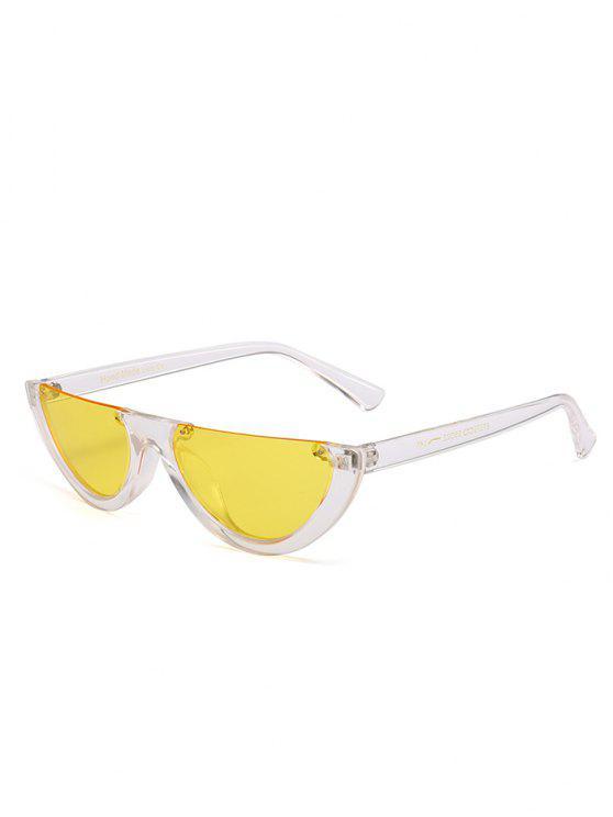 Óculos de Sol Vintage Anti-Fadiga com Meia-Armação e Decorado de Olho de Gato - Amarelo Claro