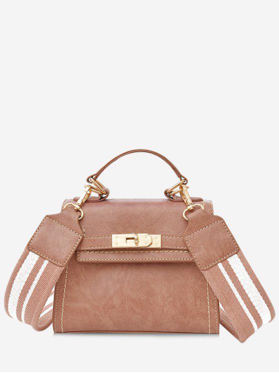 Stripe Strap Hasp Vintage Crossbody Handbag - Rosa