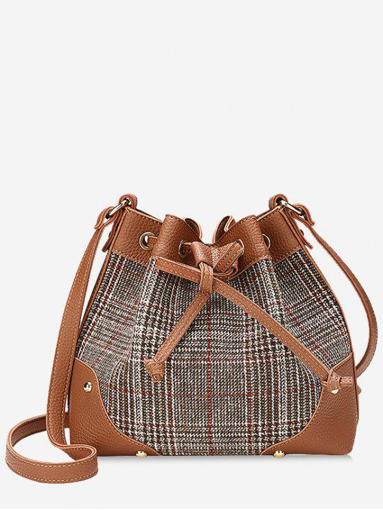 unique Drawstring Plaid Crossbody Bucket Bag - BROWN