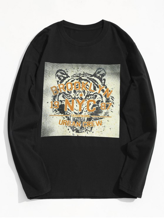sale Tiger Graphic Long Sleeve Tee - BLACK M