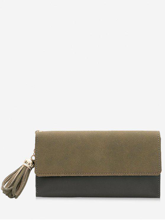 womens Tassel Pendant Long Wallet - ARMY GREEN