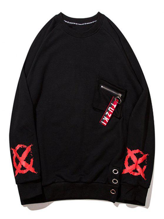 Reißverschluss Design Pocket Graphic Sweatshirt - Schwarz 2XL