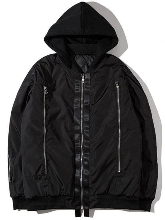 Chaqueta con capucha estampada con capucha y gráfico - Negro XL