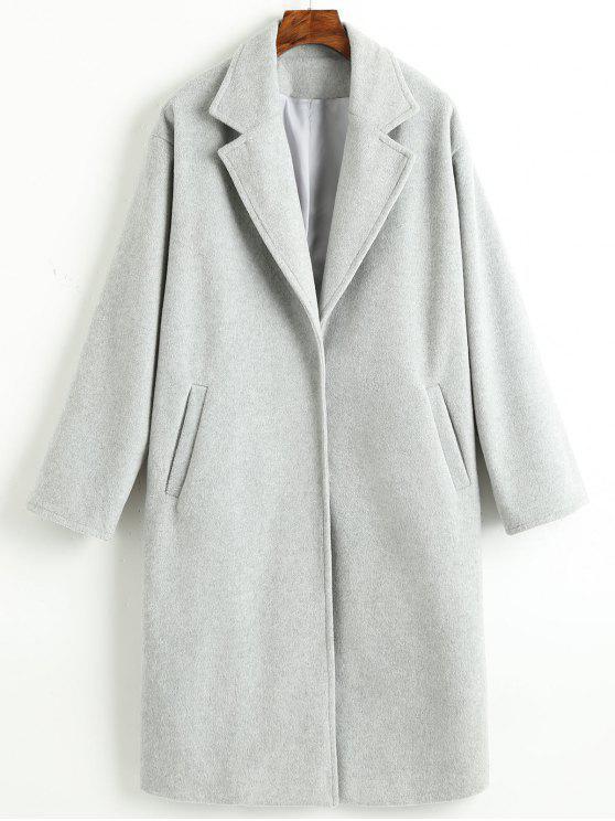 affordable Plain Lapel Snap Button Coat - LIGHT GRAY M