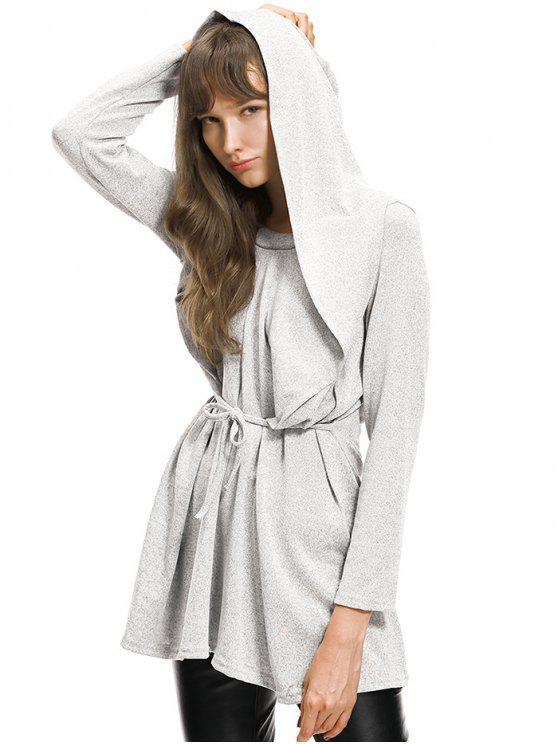 Einfacher Riemchen Gebunden Hoodie - Grau L