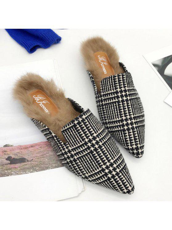 shops Houndstooth Plaid Pattern Pointed Toe Flats - BLACK WHITE 38