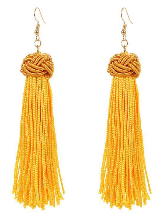 trendy Retro Hand Woven Tassel Drop Earrings - YELLOW