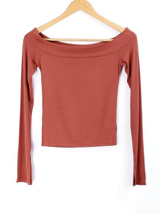 sale Knitted Off Shoulder Top - BRICK-RED S