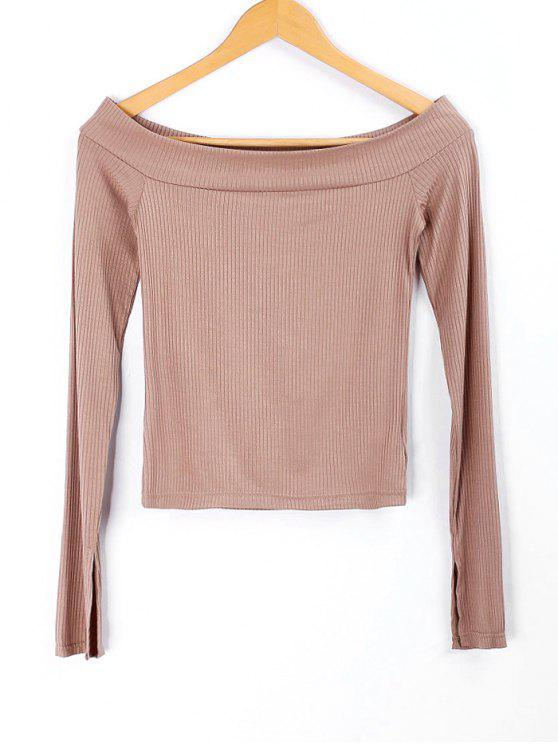 women Knitted Off Shoulder Top - NUDE S