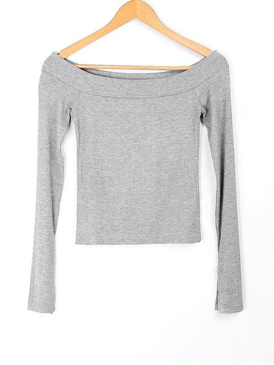 best Knitted Off Shoulder Top - GRAY S