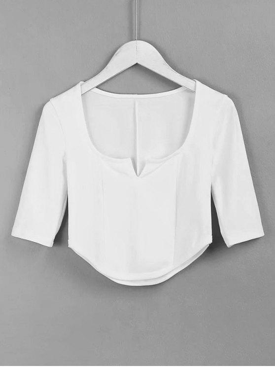 shops Cropped Siit Collar Top - WHITE M