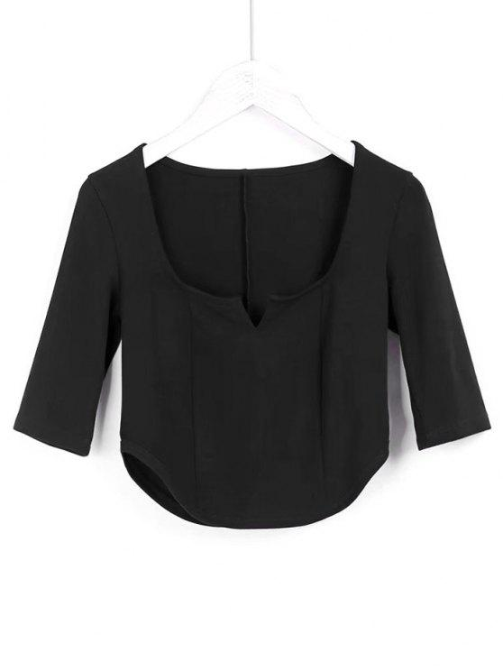 unique Cropped Siit Collar Top - BLACK S
