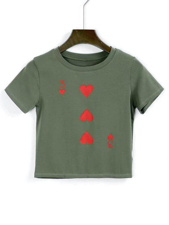 women's Cotton Heart Cropped T Shirt - ARMY GREEN S