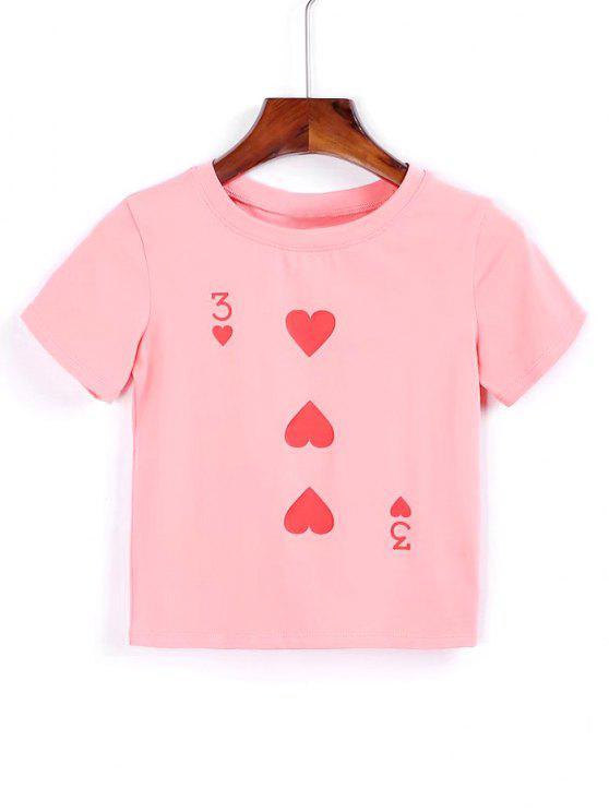 Algodão Coração Cropped T Shirt - Rosa M