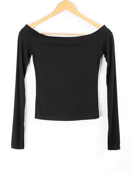 fashion Knitted Off Shoulder Top - BLACK M