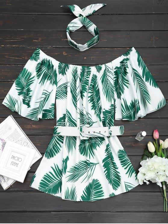 Schulterfrei Blätter Drucken Halsband Gürtel Kleid - Grün M
