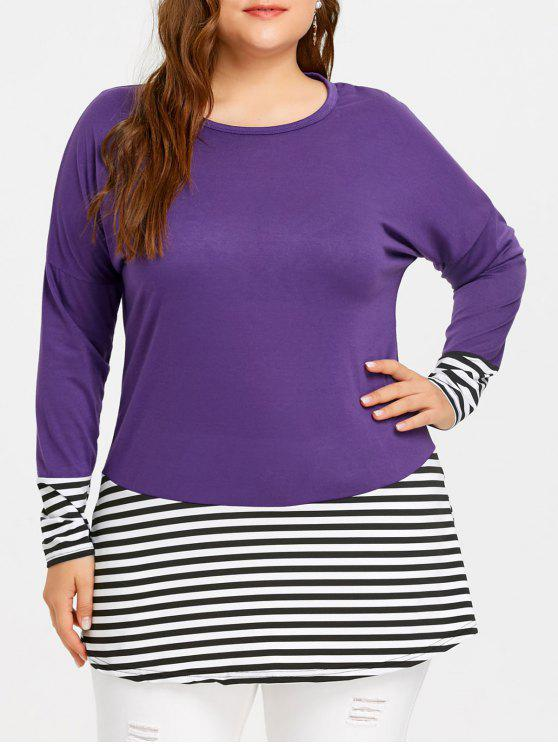 f24057443e2 29% OFF  2019 Plus Size Drop Shoulder Striped Tee In PURPLE 3XL
