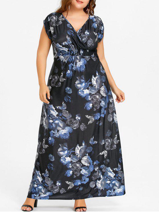 Butterfly Plus Size Maxi Empire Waist Dress Black Plus Size Dresses