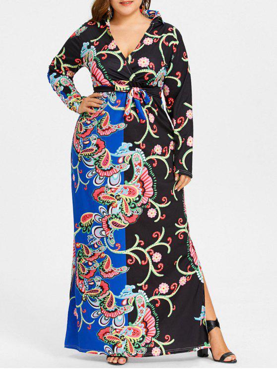 c90e20c12e5ce 30% OFF] 2019 Plus Size Surplice Plunging Floral Print Dress In BLUE ...