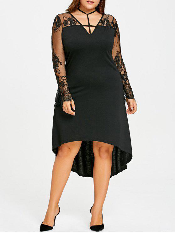 23% OFF] 2019 Plus Size Sheer Dip Hem Dress In BLACK | ZAFUL