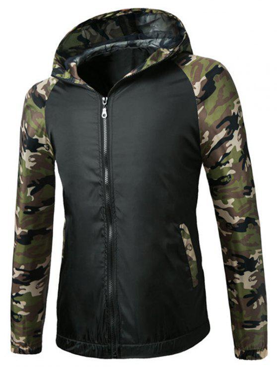 Raglan Sleeve Camo Kapuzen Leichte Jacke - Schwarz 2XL