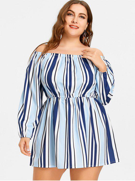 sale Striped Off The Shoulder Plus Size Dress - STRIPE 3XL