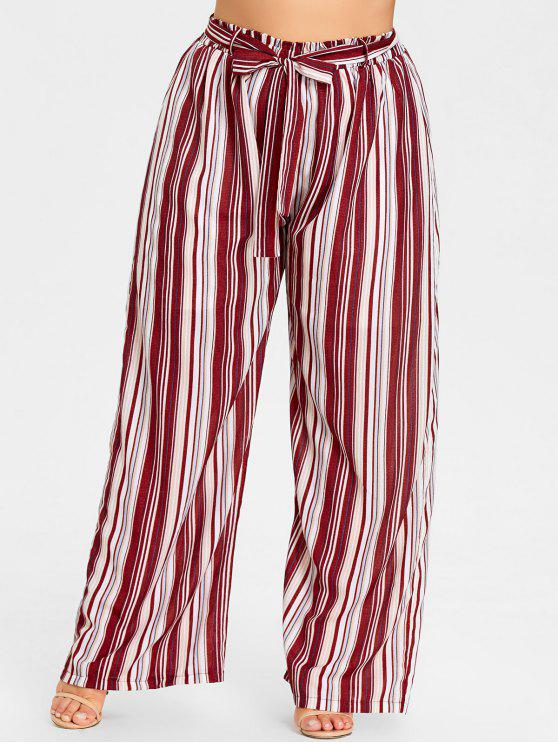 Plus Size Striped Wide Leg Pants - LISTRAS VERMELHAS 4XL