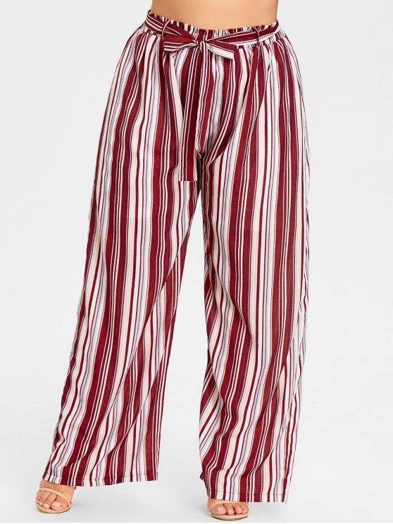 Übergroße Gestreifte Weites Bein Hose - Rotes Streifen  5XL