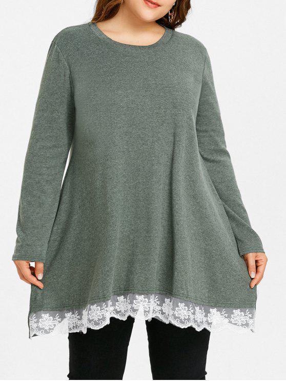 Plus Size Crochet Trim Longline T-shirt