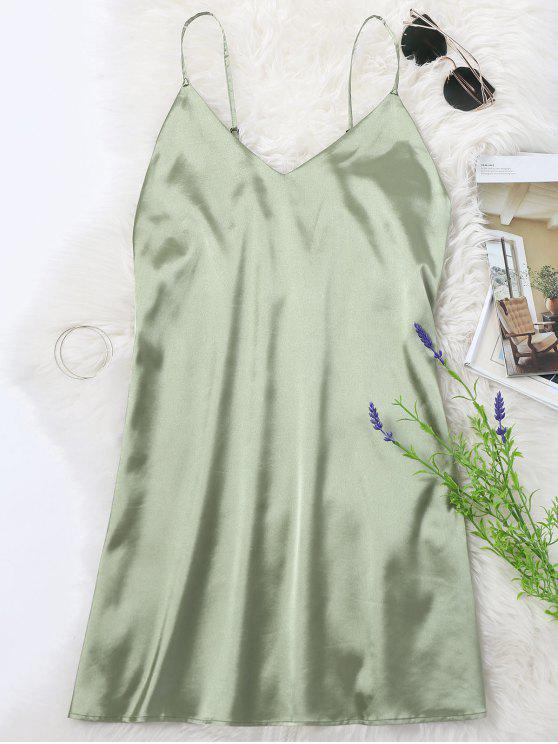 ladies Cami Mini Summer Dress - PEA GREEN S