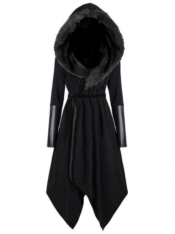 Casaco Plus Size Encapuzado Assimétrico com Painel de Pele Artificial - Preto 5XL