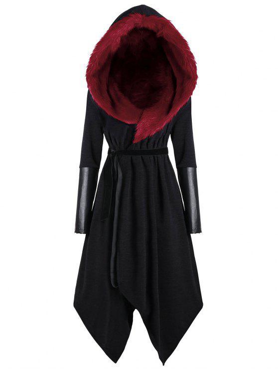 affordable Plus Size Faux Fur Insert Hooded Asymmetric Coat - BLACK&RED 5XL
