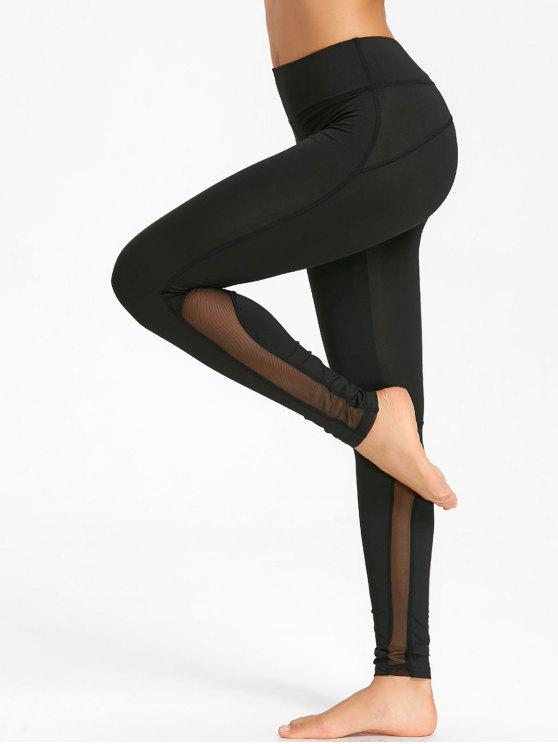 hot Skinny Mesh Insert Workout Tights - BLACK M