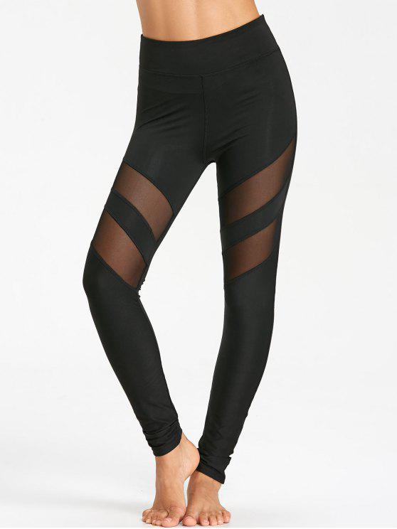 trendy High Waist Workout Leggings With Mesh - BLACK XL