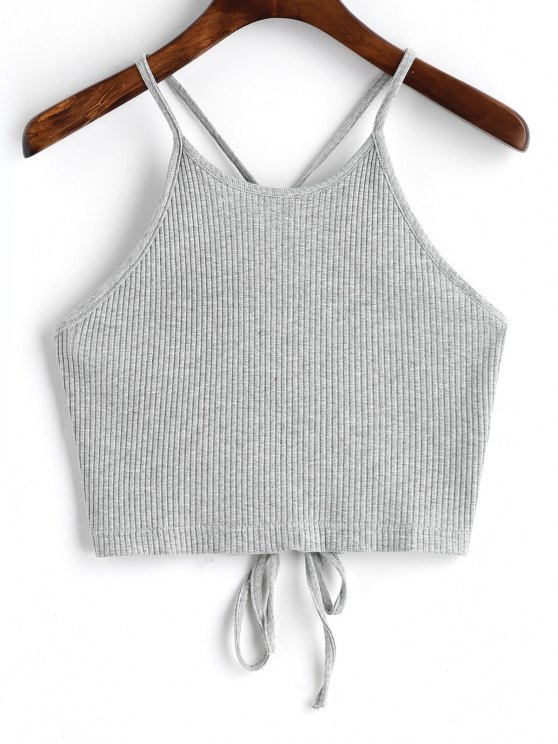 chic Cropped Lace Up Tank Top - GRAY S