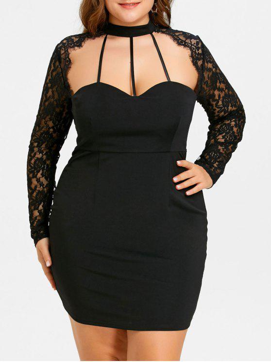 فستان بمقاس كبير مزين بالدانتيل - أسود 5XL