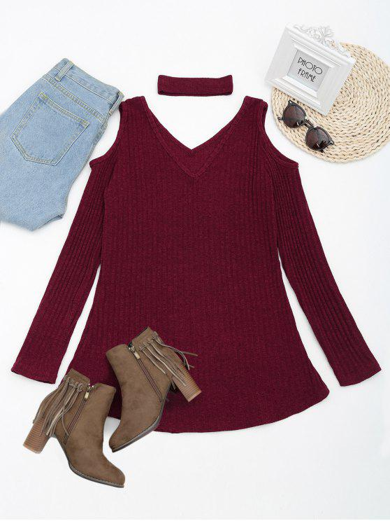 outfit Cold Shoulder Mini Knitted Dress with Choker - WINE RED L