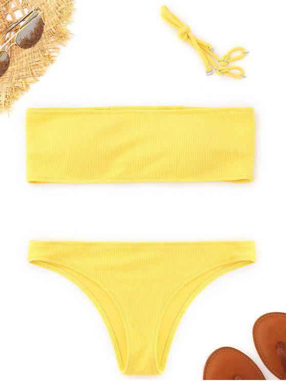 outfit Ribbed Texture Bandeau Bikini Set - YELLOW M