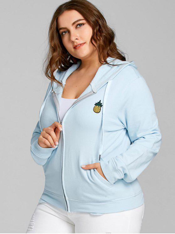 latest Plus Size Pineapple Patch Zip Hoodie - LIGHT BLUE 4XL