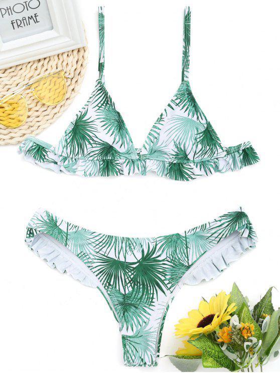 Bikini Stampa Foglia Con Orlo Arricciato - GREEN XL