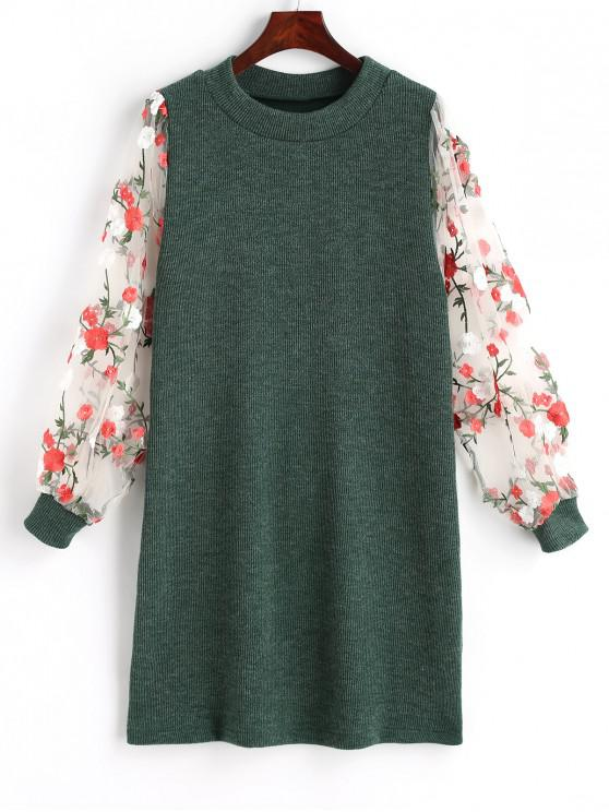 Mini-Vestido Floral de Malha com Painél de Renda - Verde M