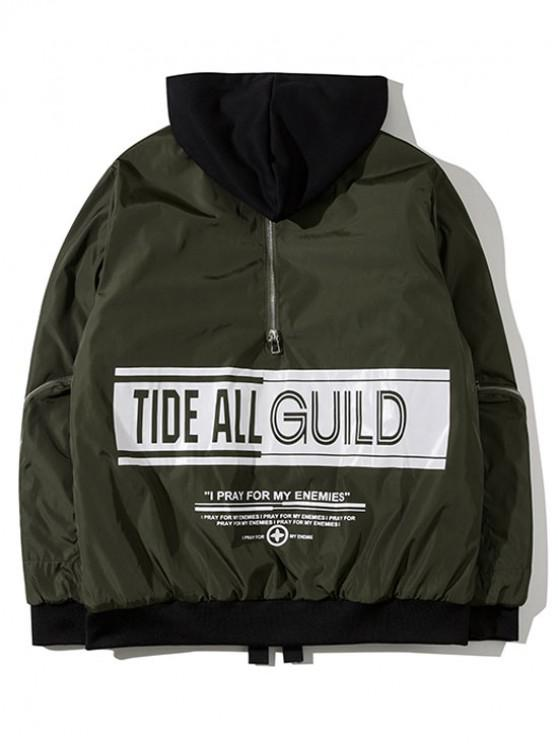 fancy Hooded Graphic Padded Bomber Jacket - ARMY GREEN M