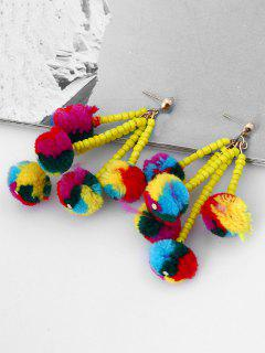 Beaded Chain  Fuzzy Ball Tassel Drop Earrings