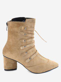 Pointed Toe Lace Up Block Heel Boots - Apricot 39