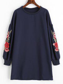 Vestido De Noche De Manga Larga Con Apliques Florales - Azul Claro L