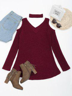 Cold Shoulder Mini Knitted Dress With Choker - Wine Red M