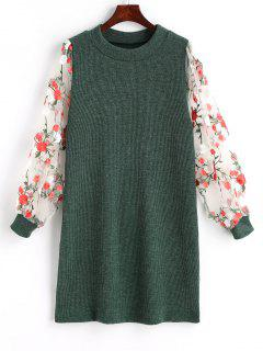 Mesh Panel Floral Mini Knitted Dress - Green M