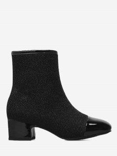 Sequined Cloth Square Toe Side Zip Boots - Black 39