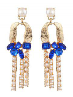 Faux Crystal Pearl Horseshoe Earrings - Blue