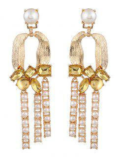 Faux Crystal Pearl Horseshoe Earrings - Yellow